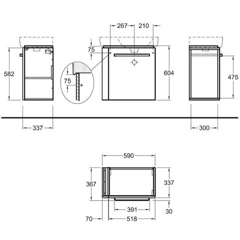 Geberit Renova Compact wastafelonderkast 1 handdoekhouder 59cm deur wit glans wit