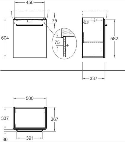Geberit Renova Compact wastafelonderkast 1 deur 50x60cm glans wit glans wit
