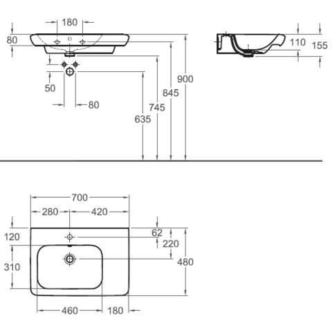 Sphinx 365 wastafel li.70x48 1xkr.gat m/overloop afleg rechts wit