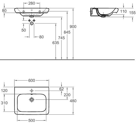 Sphinx 365 wastafel 60x48 cm. 1x kr.gat m/overloop wit
