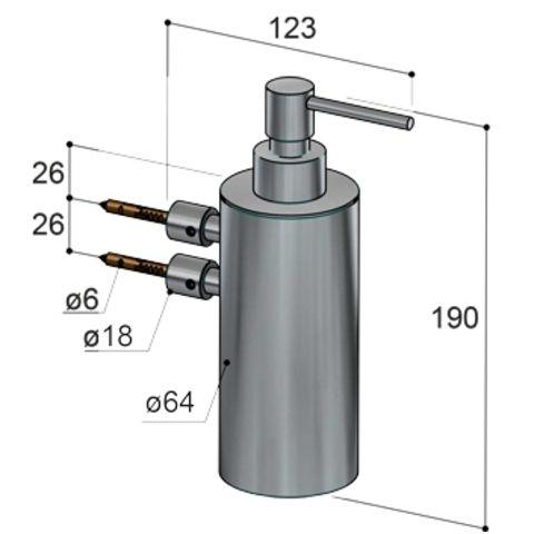 Hotbath Archie ARA09 zeepdispenser wandmodel RVS 316