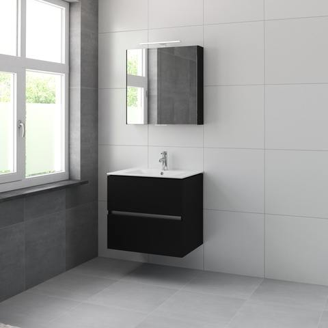 Bruynzeel Miko meubelset spiegelkast 70cm zijdezwart