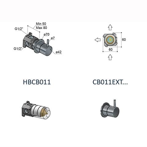 Hotbath Cobber CB011 inbouw 2-weg glans nikkel