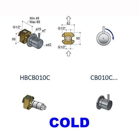 Hotbath Cobber CB010 inbouw stopkraan glans nikkel cold