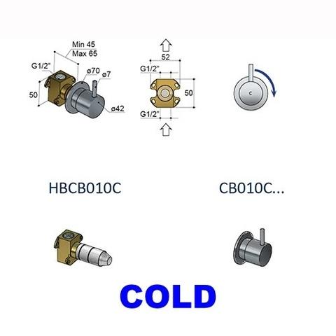 Hotbath Cobber CB010 inbouw stopkraan roze goud cold