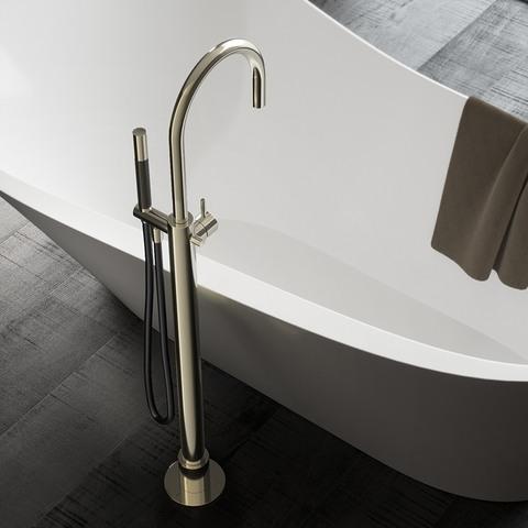 Hotbath Cobber CB077 badmengkraan vloermontage met draaibare uitloop geborsteld koper