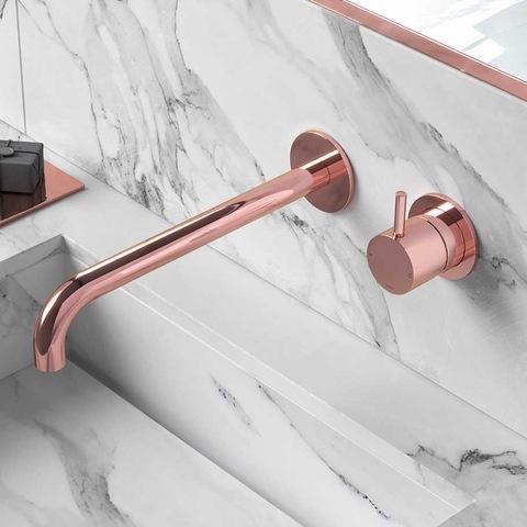 Hotbath Cobber CB005 inbouw wastafelkraan uitloop 25cm roze goud