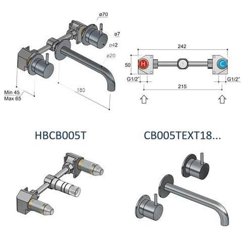 Hotbath Cobber HBCB005T inbouwdeel voor CB005T inbouw wastafelkraan
