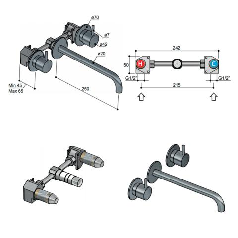 Hotbath Cobber CB005T afbouwdeel 3 gats 25 cm uitloop geborsteld nikkel