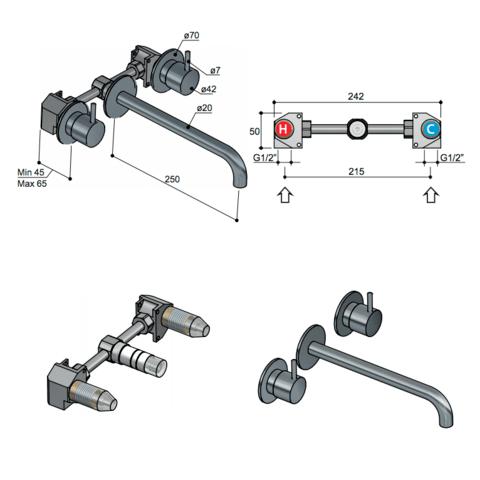 Hotbath Cobber CB005T afbouwdeel 3 gats 25 cm uitloop geborsteld messing PVD