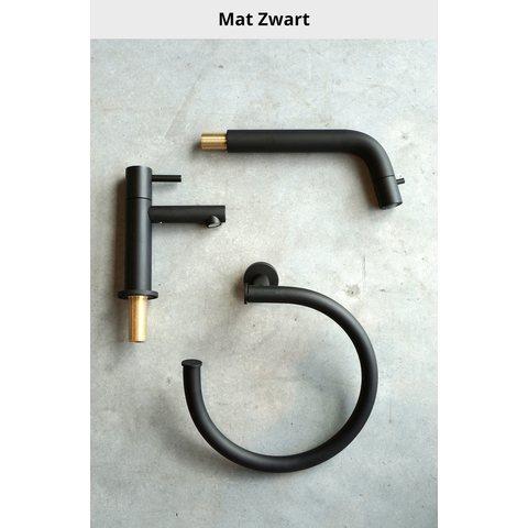 Hotbath Cobber CB005T inbouw wastafelmengkraan 3-gats met inbrouwbrug uitloop 25cm mat zwart