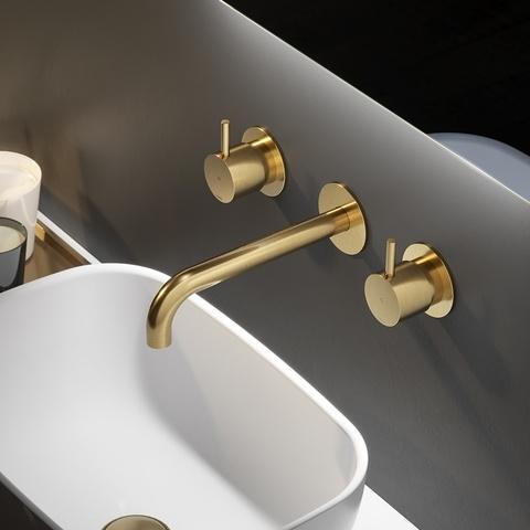 Hotbath Cobber CB005T inbouw wastafelmengkraan 3-gats met inbrouwbrug uitloop 18cm geborsteld messing PVD