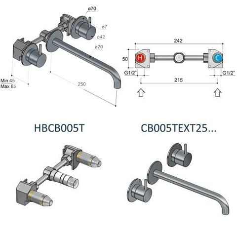 Hotbath Cobber CB005T inbouw wastafelmengkraan 3-gats met inbrouwbrug uitloop 25cm geborsteld koper PVD