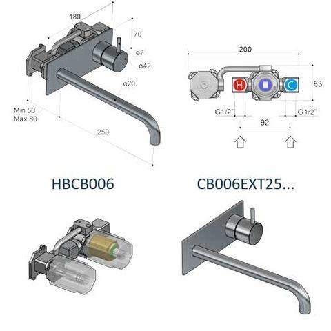 Hotbath Cobber CB006 afbouwdeel wastafelkraan met achterplaat 25 cm uitloop mat-zwart