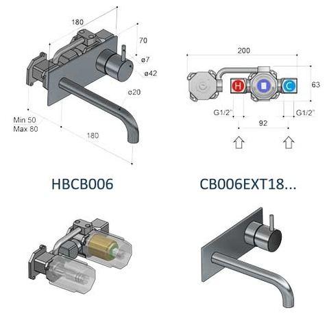 Hotbath Cobber CB006AB inbouw wastafelkraan met achterplaat uitloop 18cm verouderd messing