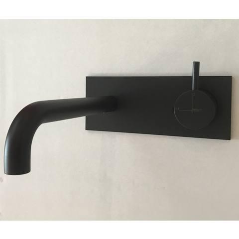 Hotbath Cobber CB006 inbouw wastafelkraan met achterplaat uitloop 25cm mat zwart