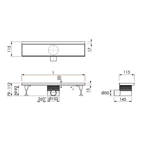 Easydrain Multi Wall douchegoot 90 cm. zijuitloop zonder rooster rvs