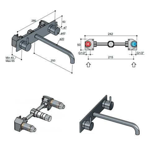 Hotbath Cobber CB006T afbouwdeel wastafelkraan 3-gats met achterplaat en 25 cm uitloop verouderd ijzer
