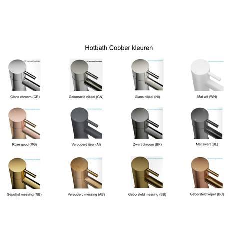 Hotbath Cobber CB006T inbouw wastafelmengkraan 3-gats met inbrouwbrug achterplaat en uitloop 18cm mat wit