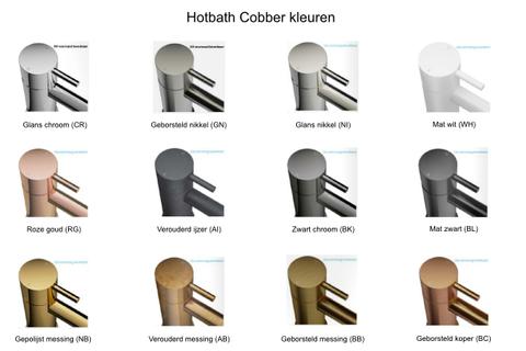 Hotbath Cobber CB006T inbouw wastafelmengkraan 3-gats met inbrouwbrug achterplaat en uitloop 25cm geborsteld koper