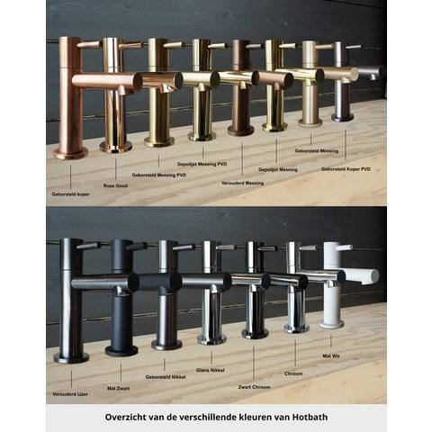 Hotbath Cobber CB006T inbouw wastafelmengkraan 3-gats met inbrouwbrug achterplaat en uitloop 18cm zwart chroom