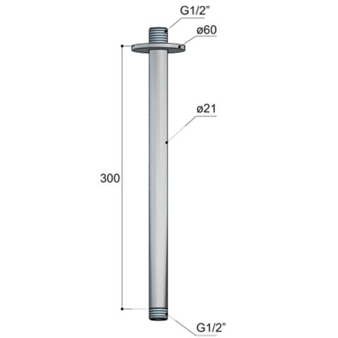 Hotbath Cobber CB453 plafondbuis 30cm glans nikkel