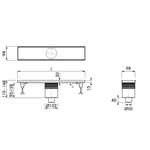 Easydrain Multi inbouwdeel 60 cm. onderuitloop zonder rooster rvs