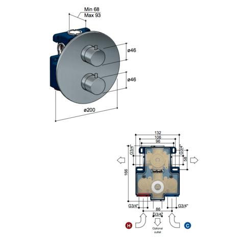 Hotbath Cobber CB009 Inbouwthermostaat met 2-weg omstel zwart chroom