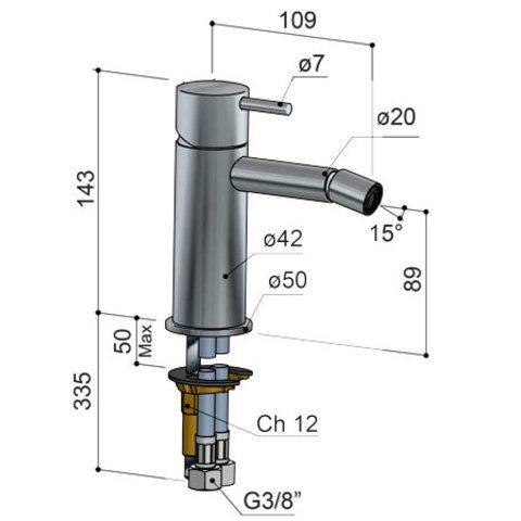 Hotbath Cobber CB018 bidetmengkraan zonder waste verouderd ijzer