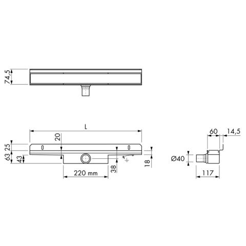Easydrain Compact 30 Wall douchegoot 110cm