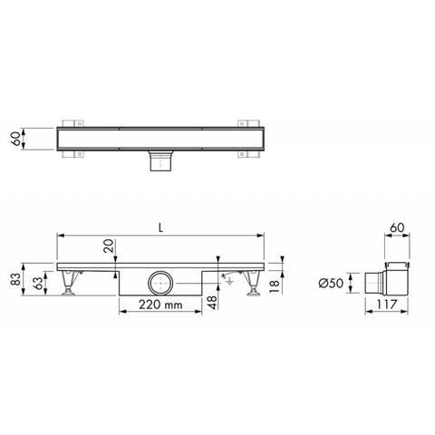 Easydrain Compact 50 douchegoot 6x50 cm. zijuitlaat rvs