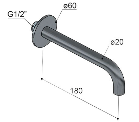 Hotbath Cobber CB095 universele uitloop 18cm glans nikkel