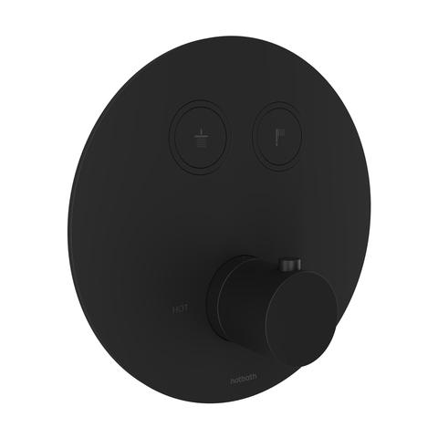 Hotbath Cobber PB009EXT afbouwdeel voor inbouw thermostaat met 2 pushbuttons mat zwart