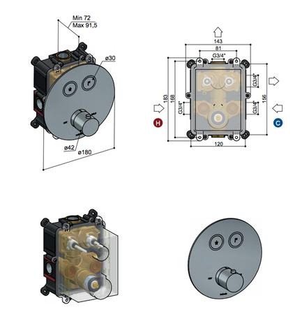 Hotbath Cobber PB009EXT afbouwdeel voor inbouw thermostaat met 2 pushbuttons gepolijst messing PVD