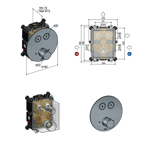 Hotbath Cobber PB009EXT afbouwdeel voor inbouw thermostaat met 2 pushbuttons geborsteld messing PVD