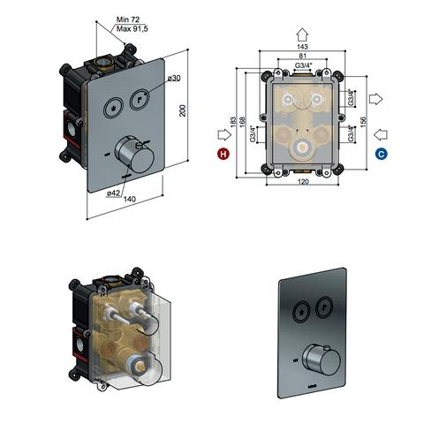 Hotbath Cobber PB009QEXT afbouwdeel voor inbouw thermostaat met 2 pushbuttons gepolijst messing