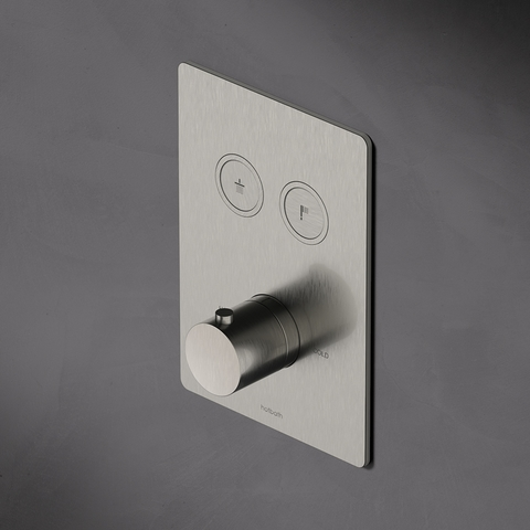 Hotbath Cobber PB009QEXT afbouwdeel voor inbouw thermostaat met 2 pushbuttons verouderd messing