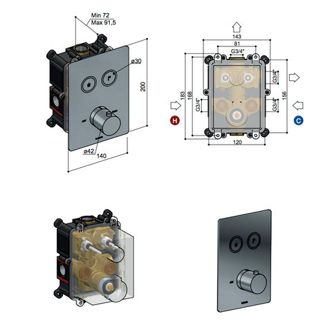 Hotbath Cobber PB009QEXT afbouwdeel voor inbouw thermostaat met 2 pushbuttons mat zwart