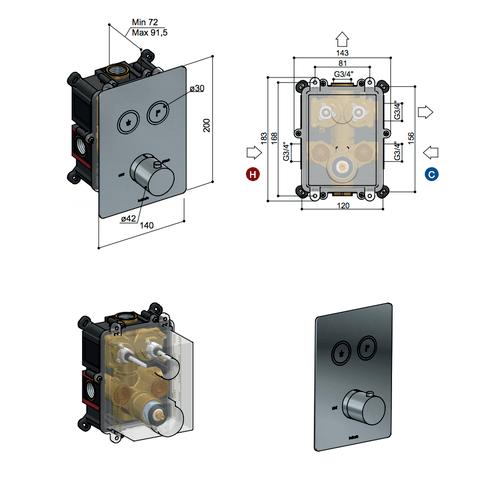 Hotbath Cobber PB009QEXT afbouwdeel voor inbouw thermostaat met 2 pushbuttons zwart chroom