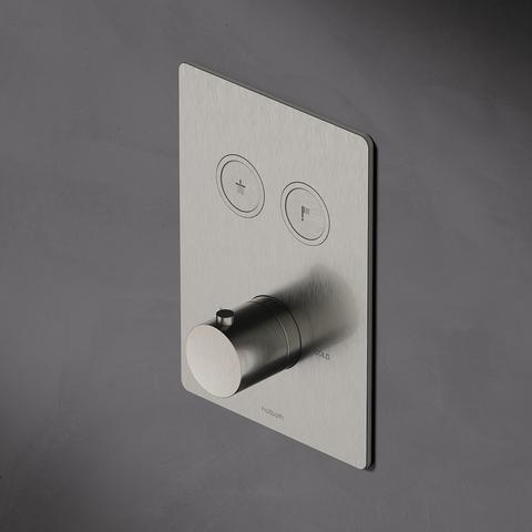 Hotbath Cobber PB009QEXT afbouwdeel voor inbouw thermostaat met 2 pushbuttons geborsteld messing PVD