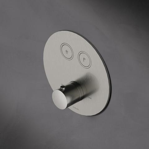 Hotbath Cobber PB009 inbouwthermostaat met 2 pushbuttons geborsteld nikkel