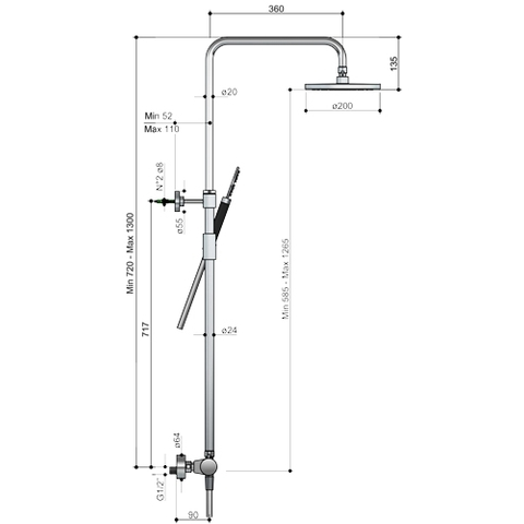 Hotbath Cobber SDS 10 thermostatische stortdoucheset mat zwart