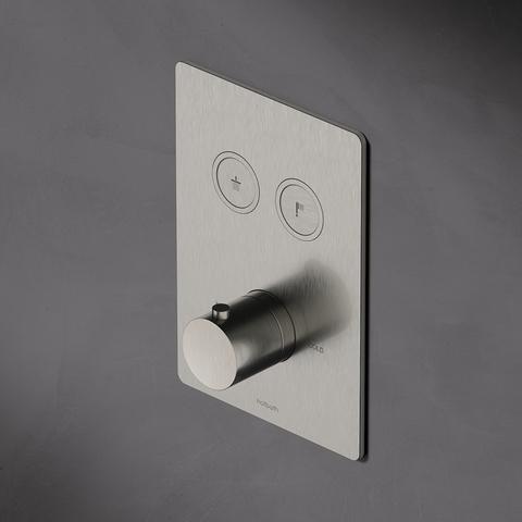Hotbath Cobber PB009Q inbouwthermostaat met 2 pushbuttons geborsteld nikkel