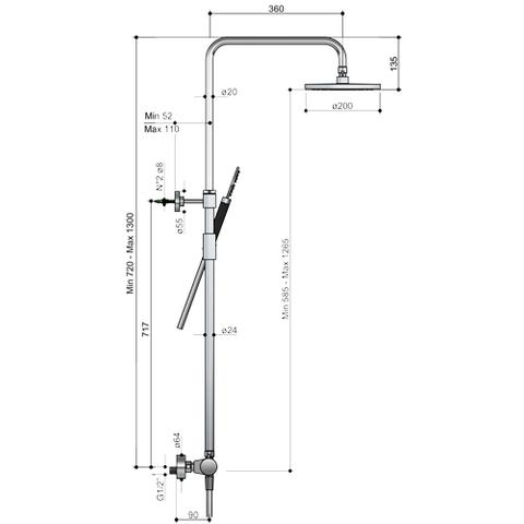 Hotbath Cobber SDS 10 thermostatische stortdoucheset geborsteld koper PVD