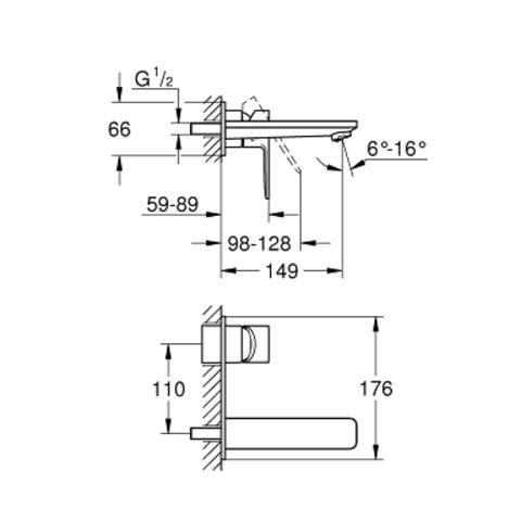 Grohe Lineare inbouw wastafelkraan - 14,9cm - supersteel