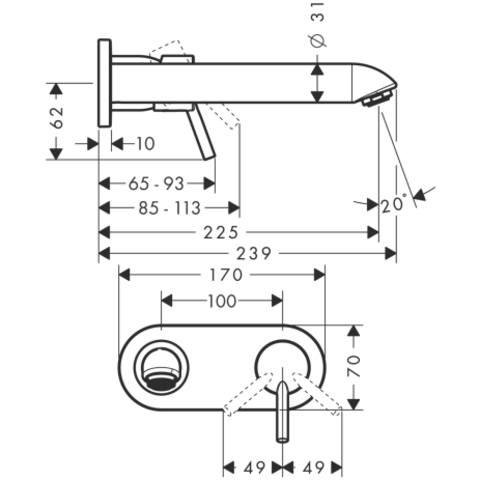 Hansgrohe Talis inbouw wastafelkraan 22,5 cm chroom