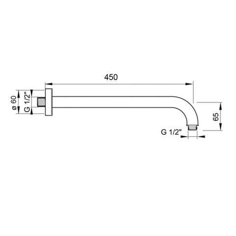 Hotbath Mate M450-45 wandarm rond 45cm geborsteld nikkel