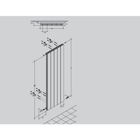 Thermrad AluSoft verticale designradiator 180 x 36 cm structuur wit