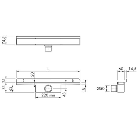 Easydrain Compact 50 Wall douchegoot 120cm