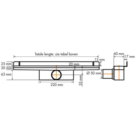 Easydrain Compact 50 Wall Zero douchegoot 70cm